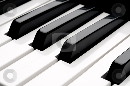 A horizontal close up of piano keyboard  keys stock photo, A horizontal close up of piano keyboard  keys by Vince Clements