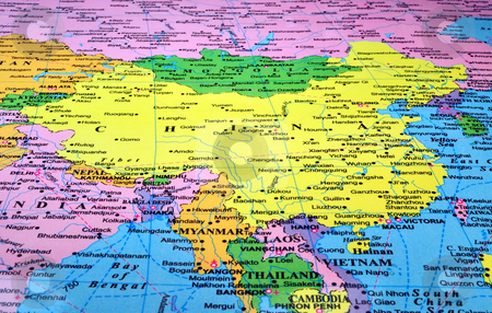 China map stock photo, Map of China and countries in South East Asia by Fernando Barozza