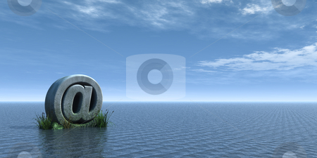 Email stock photo, Email alias rock at the ocean - 3d illustration by J?