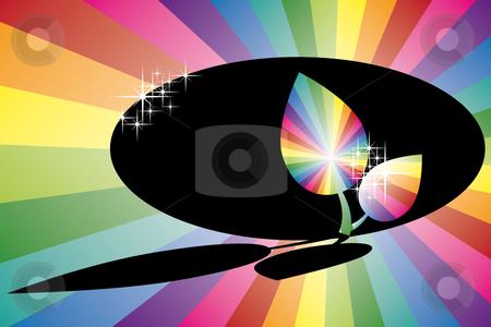 Shadow rainbow leaf stock vector clipart, Shadow rainbow leaf with see through oval shape and sparkles by Karin Claus