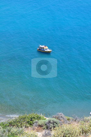 Boat in the Mediterranean Sea stock photo, Travel photography: Boat in the Mediterranean Sea, Crete, Greece by Fernando Barozza