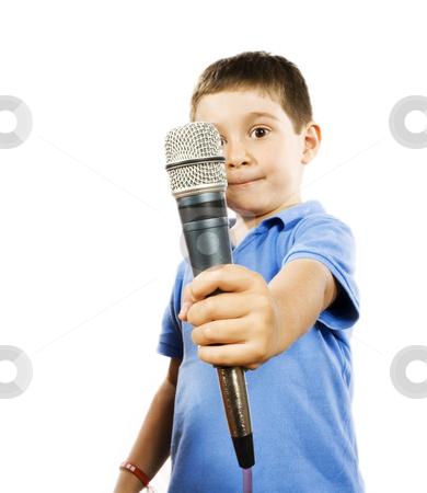 Karaoke kid stock photo, Stock photo of boy holding microphone, isolated on white by iodrakon