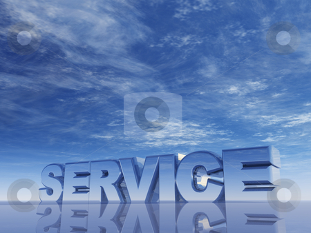Service stock photo, The word service in front of blue sky - 3d illustration by J?
