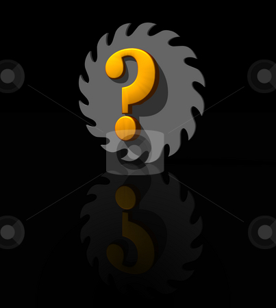 Question mark stock photo, Saw blade and question mark on black background - 3d illustration by J?