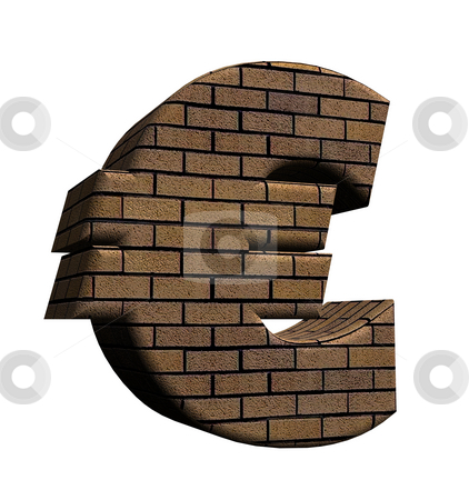 Eurowall stock photo, Bricked euro sign on white background - 3d illustration by J?
