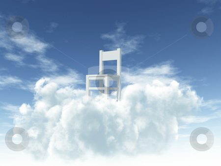 Heaven stock photo, Lonely chair at clouds - 3d illustration by J?