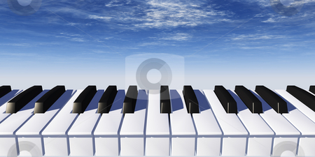 Piano stock photo, Piano keyboard and blue sky - 3d illustration by J?