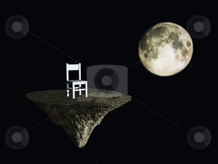 Wait stock photo, Lonely chair and moon in space - 3d illustration by J?