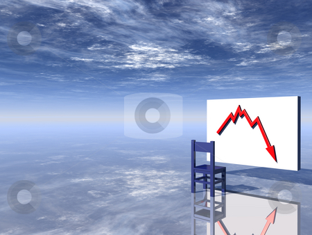 Crisis stock photo, Chair and businesschart in front of blue sky - 3d illustration by J?