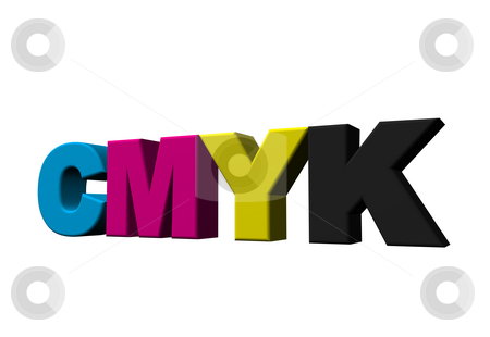 Cmyk stock photo, The letters cmyk on white background - 3d illustration by J?