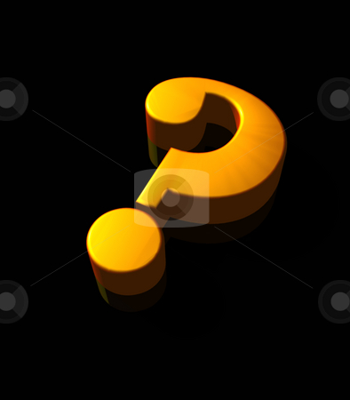 Question mark stock photo, Golden question mark on black background - 3d illustration by J?