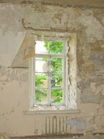 Old building window  stock photo, Old building ruin with scattered window by Sergej Razvodovskij