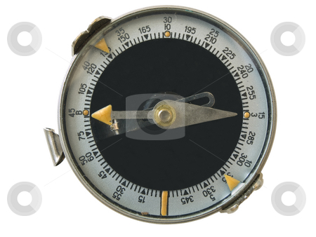 Isolated compass stock photo, Single isolated compass against the white background by Sergej Razvodovskij