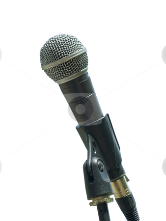 Single microphone stock photo, Single isolated microphone against the white background by Sergej Razvodovskij