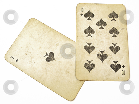 Twenty one stock photo, Two playnig cards against the white background by Sergej Razvodovskij