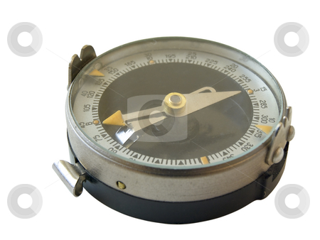 Single isolated compass stock photo, Single isolated compass against the white background by Sergej Razvodovskij