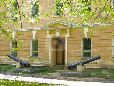 Entrance with canons stock photo, Entrance with canons in the old building by Sergej Razvodovskij