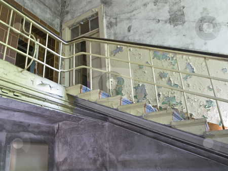 Staircase stock photo, The staircase in the old destroyed house by Sergej Razvodovskij