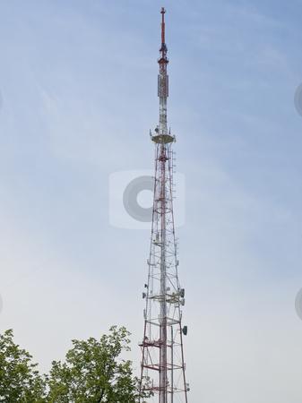 TV aerial stock photo, Television relay tower against the blue sky by Sergej Razvodovskij
