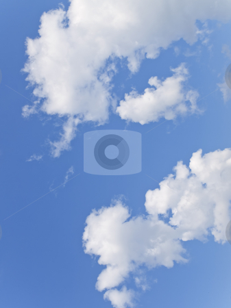 Sky and clouds stock photo, Blue clear sky with some white clouds by Sergej Razvodovskij