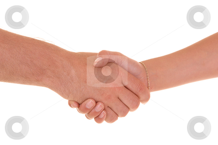 Man and woman hands. stock photo, A man shakes an womans hand, for white background. by Horst Petzold