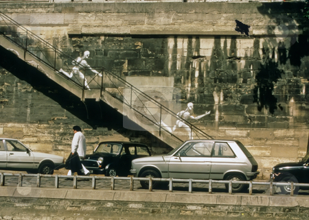 Chalk Ghosts on Paris Wall stock photo, Chalks ghosts running down the stairs to the Seine River bank, Paris, France by Thomas Marchessault