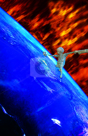 Global Warming stock photo, Earth gets more and more dangerous in many ways, e.g. through global warming, caused by the greenhouse effect, or the burning of natural ressoures such as oil and gas. So, humanity has to leave Earth in a worst Case Scenario. The picture shows a kid reaching for his teddy before the heat kills him and his mother reaching for her boy by Reinhart Eo