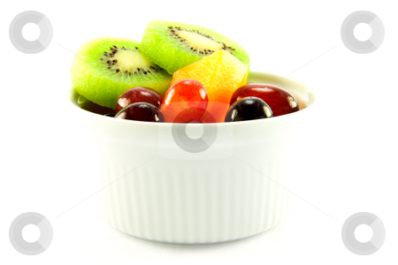 Fruit Pot stock photo, Pot of fruit including kiwi, melon and grapes with clipping path on a white background by Keith Wilson