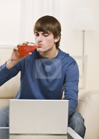 Attractive male drinking stock photo, Attractive male drinking red soda while using a laptop and sitting on the coach. vertical by Jonathan Ross