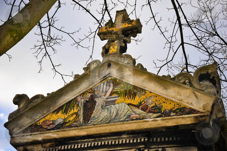 Mausoleum mosaic stock photo, Old mosaic on Pere Lachaise mausoleum by Jaime Pharr