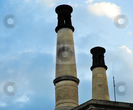 Crematorium chimneys stock photo, Pere Lachaise crematorium chimneys by Jaime Pharr
