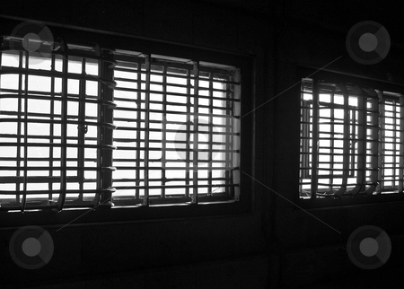 Alcatraz windows stock photo, Barred windows in Alcatraz prison by Jaime Pharr