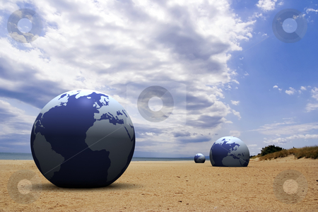 3d earth on the beach stock photo,  by Christophe Rolland