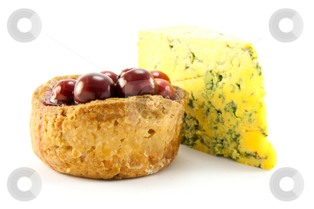 Pork Pie and Blue Cheese stock photo, Single pork with with cranberries on the top with a slice of blue cheese, with clipping path on a white background by Keith Wilson