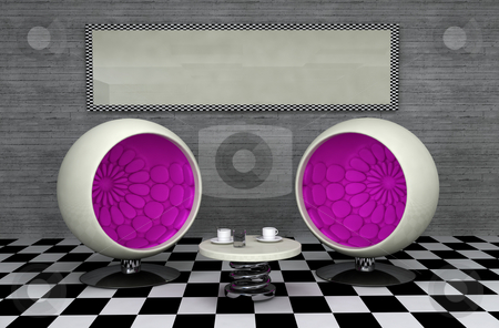 Retro diner stock photo, Retro designed diner interior, with copy space frame on wall by Magnus Johansson