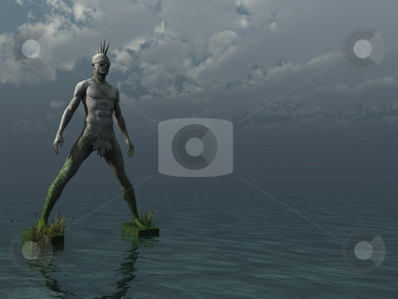 Postpunk stock photo, Stone punk monument at the ocean - 3d illustration by J?