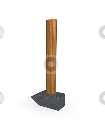 Hammer stock photo, Hammer on white background - 3d illustration by J?