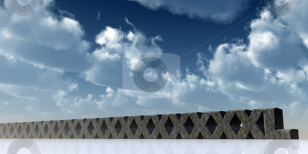 Super xxl stock photo, Super XXL rock in front of blue sky - 3d illustration by J?