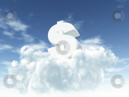 Money is the god stock photo, White dollar sign in cloudy sky - 3d illustration by J?