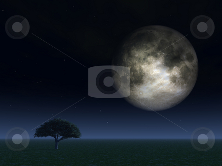 Full moon stock photo, Full moon over field with tree - 3d illustration by J?