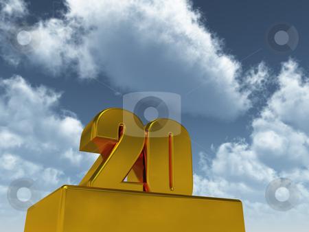 Number twenty stock photo, The number twenty - 20 -  in front of blue sky - 3d illustration by J?