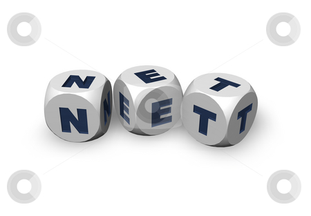 Net domain stock photo, Three dices with the letters net - 3d illustration by J?