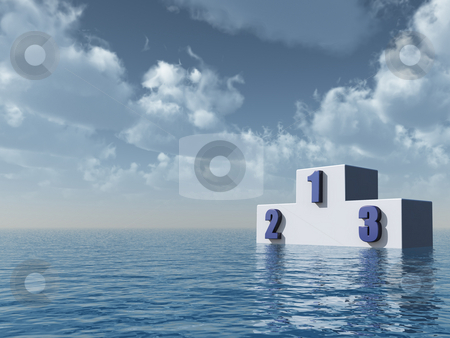 Winner stock photo, Winner podium at the ocean in front of blue sky - 3d illustration by J?