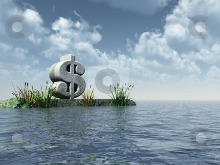 Dollar stock photo, Dollar rock at the ocean - 3d illustration by J?