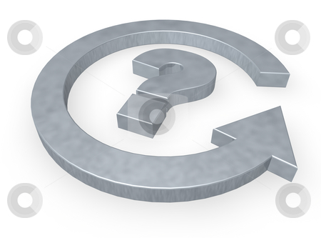 Question mark stock photo, Question mark and cycle pointer - 3d illustration by J?
