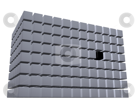 Cubes stock photo, Building of cubes on white background - 3d illustration by J?