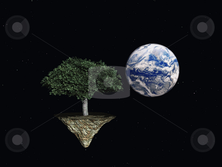 Tree in space stock photo, Tree and planet earth in space - 3d illustration by J?