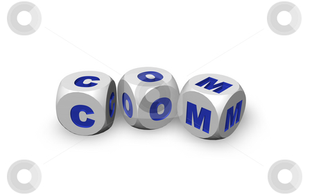 Com domain stock photo, Three dices with the letters com - 3d illustration by J?