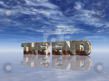 Teh end stock photo, Teh words the end in rusty metal in front of blue sky - 3d illustration by J?