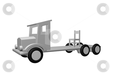 Shipping company stock photo, Simple old truck transports a chair - 3d illustration by J?